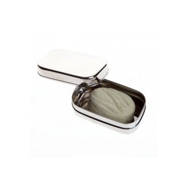 Stainless Steel Travel Soap Holder, top view with soap