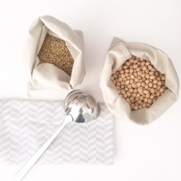 3 Handmade Cotton and Linen Bags, top view