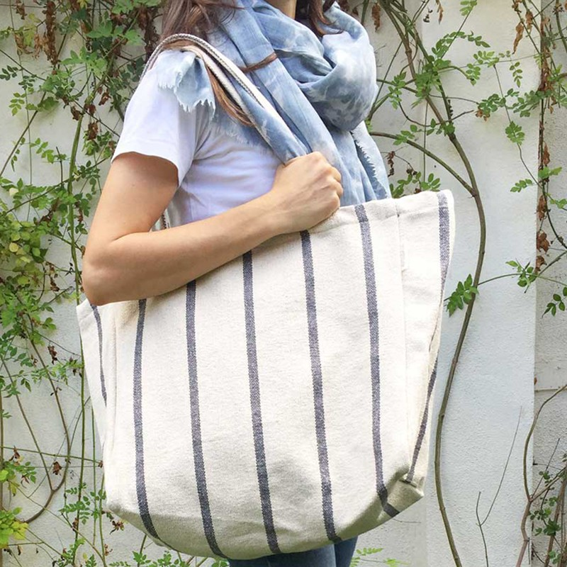Maxi Sustainable Tote Bag, blue colour, front view