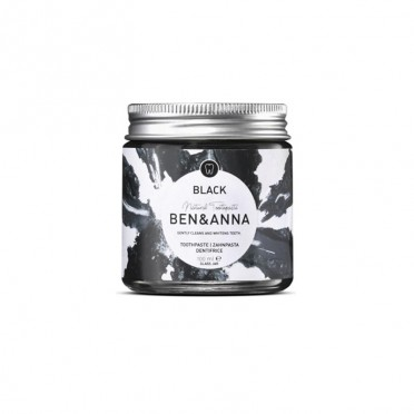 Ben & Anna Black Activated Charcoal Natural Toothpaste and Whitening, 100ml Paste, front view