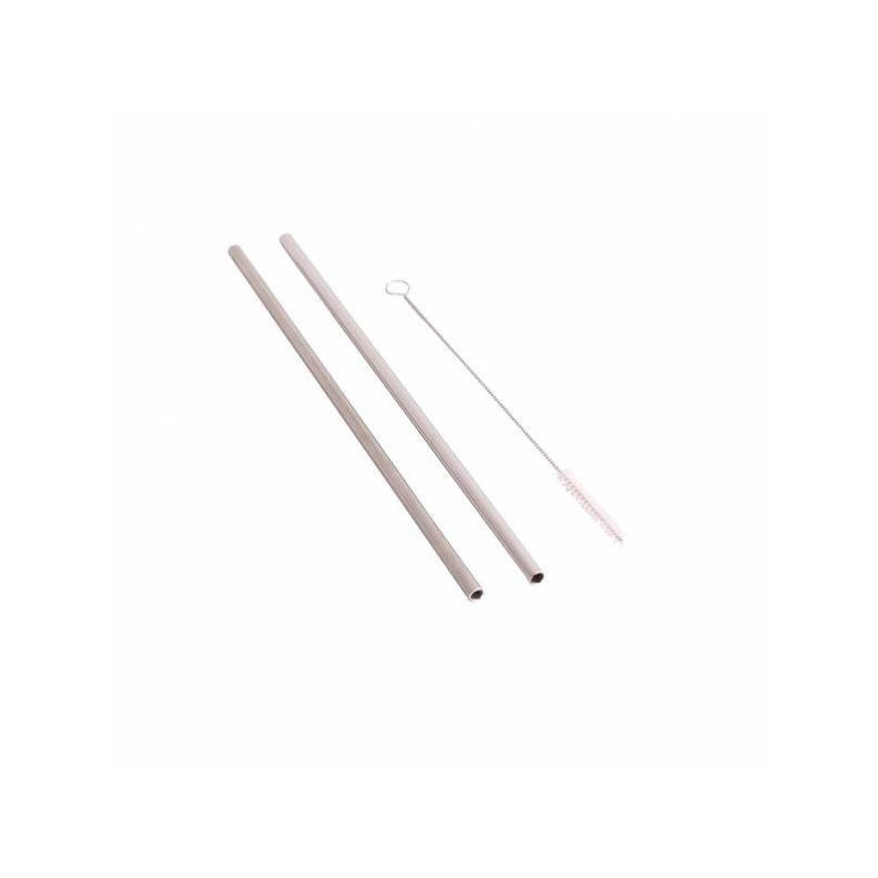 Reusable stainless steel straight straws, top view