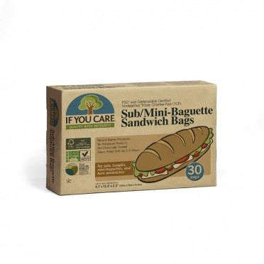 Paper bags for sandwich or baguette, 30 u., front view