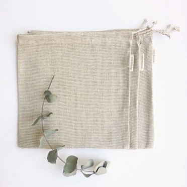 3 Large Cotton and Linen Bags, front view