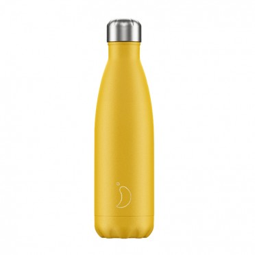 Chilly's Inox bottle Matte yellow, 500 ml., front view