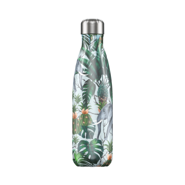 Chilly's Tropical Elephants bottle, 500 ml., frontal view