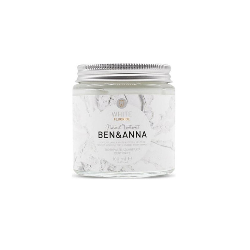 Ben & Anna White Peppermint and Sage Toothpaste and Fluorine Whitening Paste, 100ml, front view
