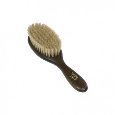 Brush for cats, wood and vegetable bristles, front view