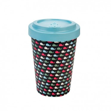 Bamboo cup with cap Whales, 400 ml, front view