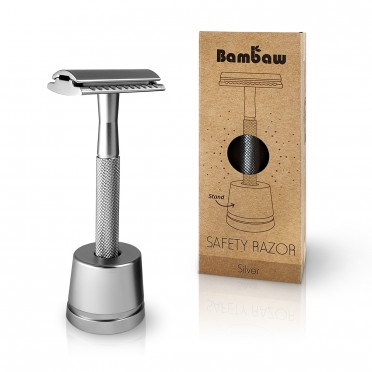 Metal Razor Silver + stand, front view