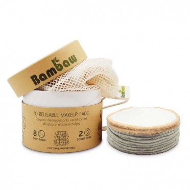 Reusable Bamboo and Cotton Makeup Remover Discs in box, front view