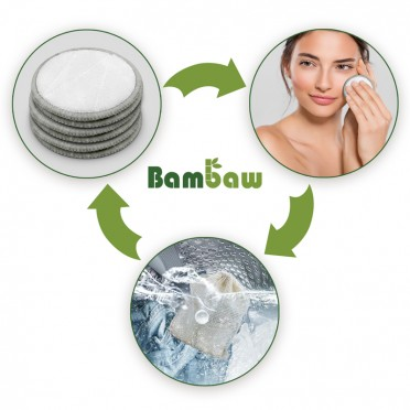 Reusable Bamboo and Cotton Makeup Remover Discs in box, instructions