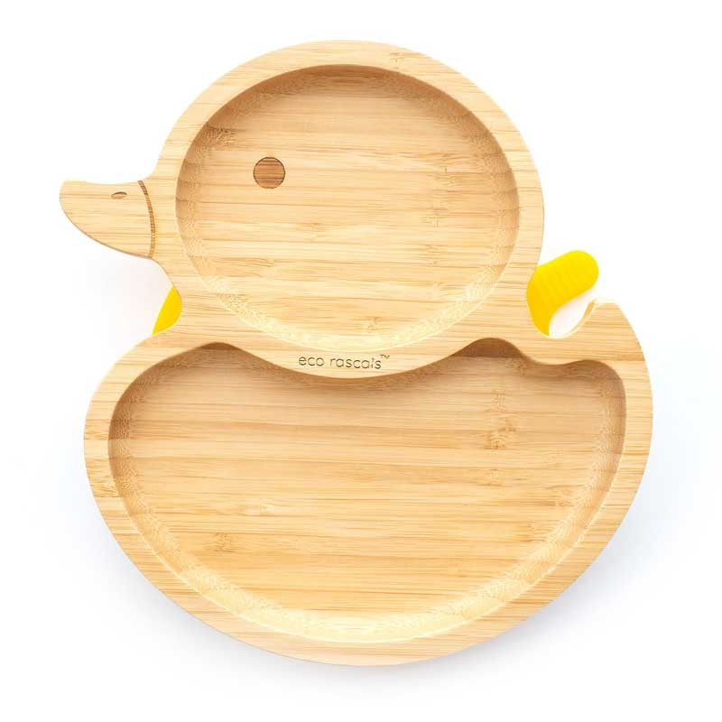 Bamboo Duckling plate, yellow top view