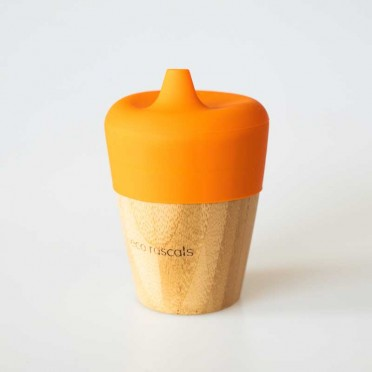 Bamboo glass with teat 190 ml., orange front view