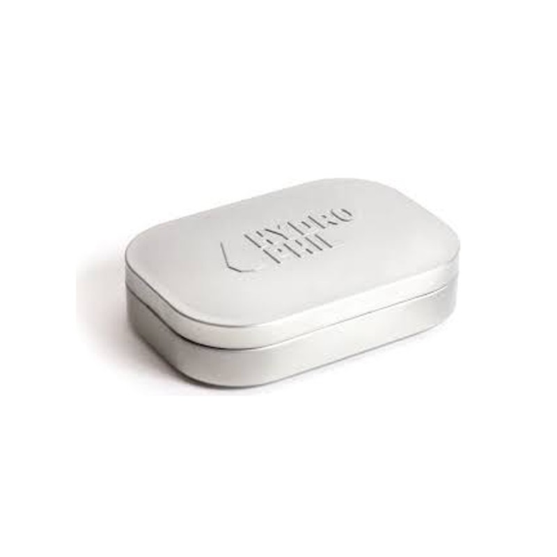 Metal travel soap dish, front view