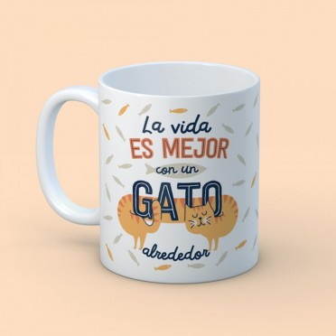 """Mug """"With a cat around"""", front view"""