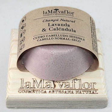 LAVENDER & CALENDULA solid shampoo, Sensitive scalp, normal-dry hair, front view.