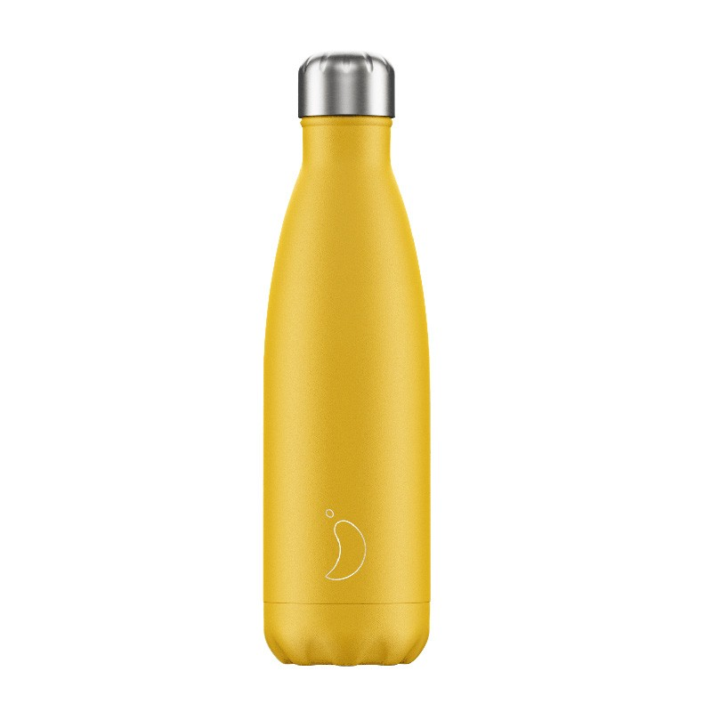 Chilly's Inox bottle, Mate Collection yellow model, front view
