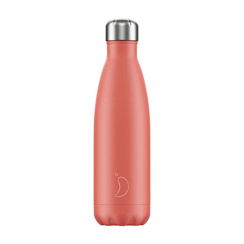 Chilly's Inox Bottle, Pastel Coral Collection 500 ml, front view