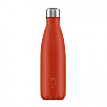 Chilly's Inox Bottle, Neon Collection. Red color 500 ml, front view