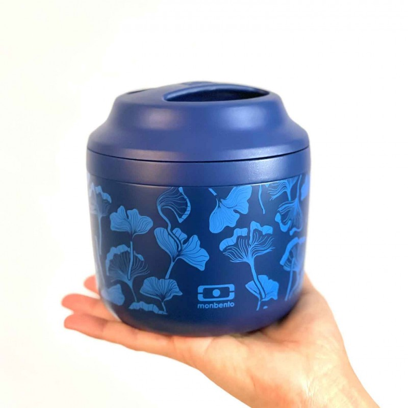 Monbento Stainless Steel Thermos, 550ml Ginko blue model, front view