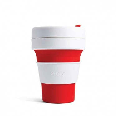 Silicone Folding Cup, Stojo Pocket stripes 355ml (choose model), front view