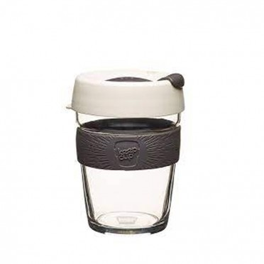 Glass and silicone coffee mug, KeepCup Brew 340ml, front view