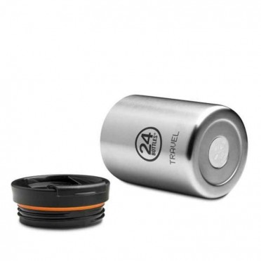 Reusable thermos cup, stainless steel, airtight, 600ml, view from both sides