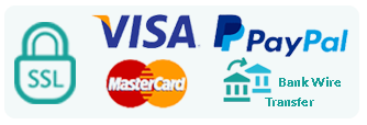 Secure payment methods: Visa, MasterCard, Paypal and Bank Wire Transfer
